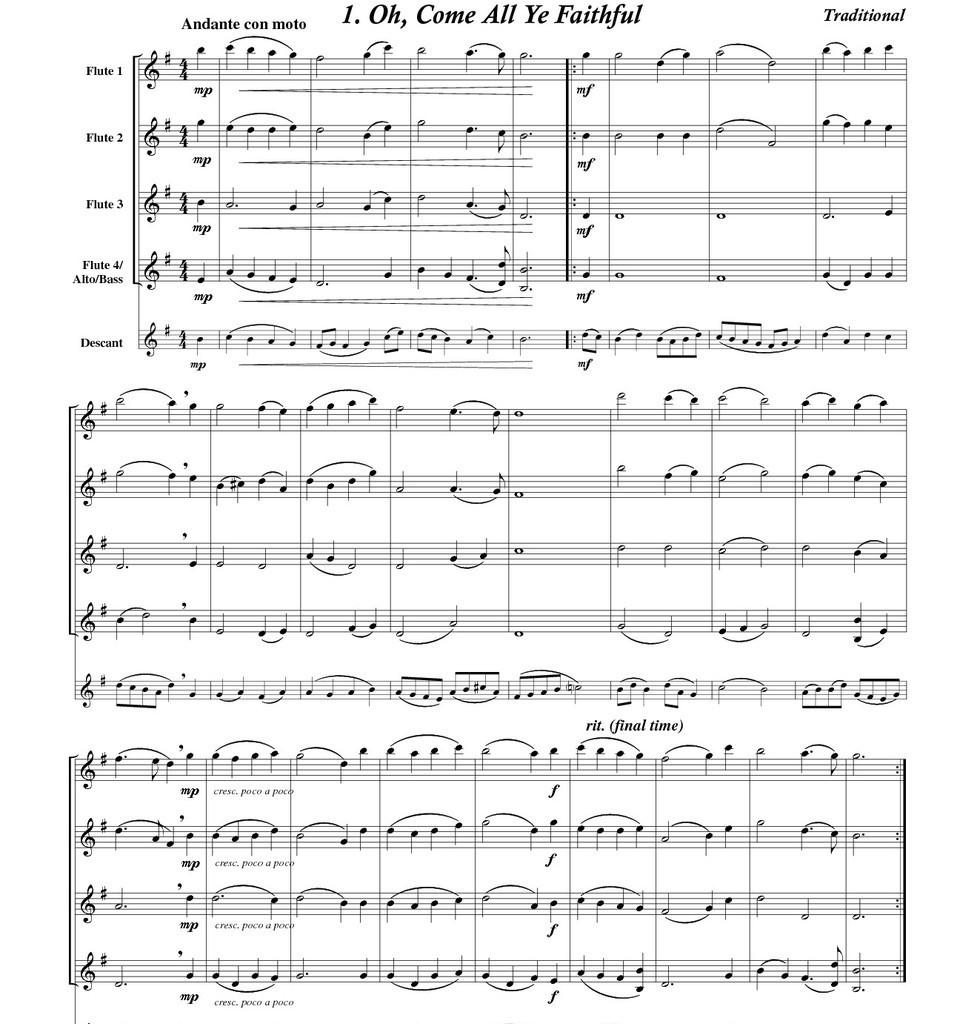 Christmas & Hanukah Songs Volume 1 for Flexible Flute Ensemble ...
